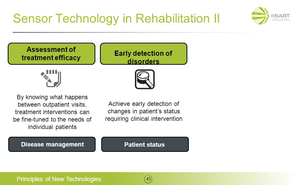 Sensor Technology in Rehabilitation II Principles of New Technologies 45 Assessment of treatment efficacy Early detection of disorders Disease managem