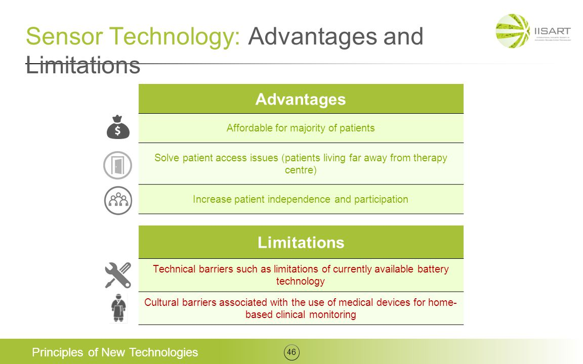 Sensor Technology: Advantages and Limitations Principles of New Technologies 46 Advantages Affordable for majority of patients Solve patient access is