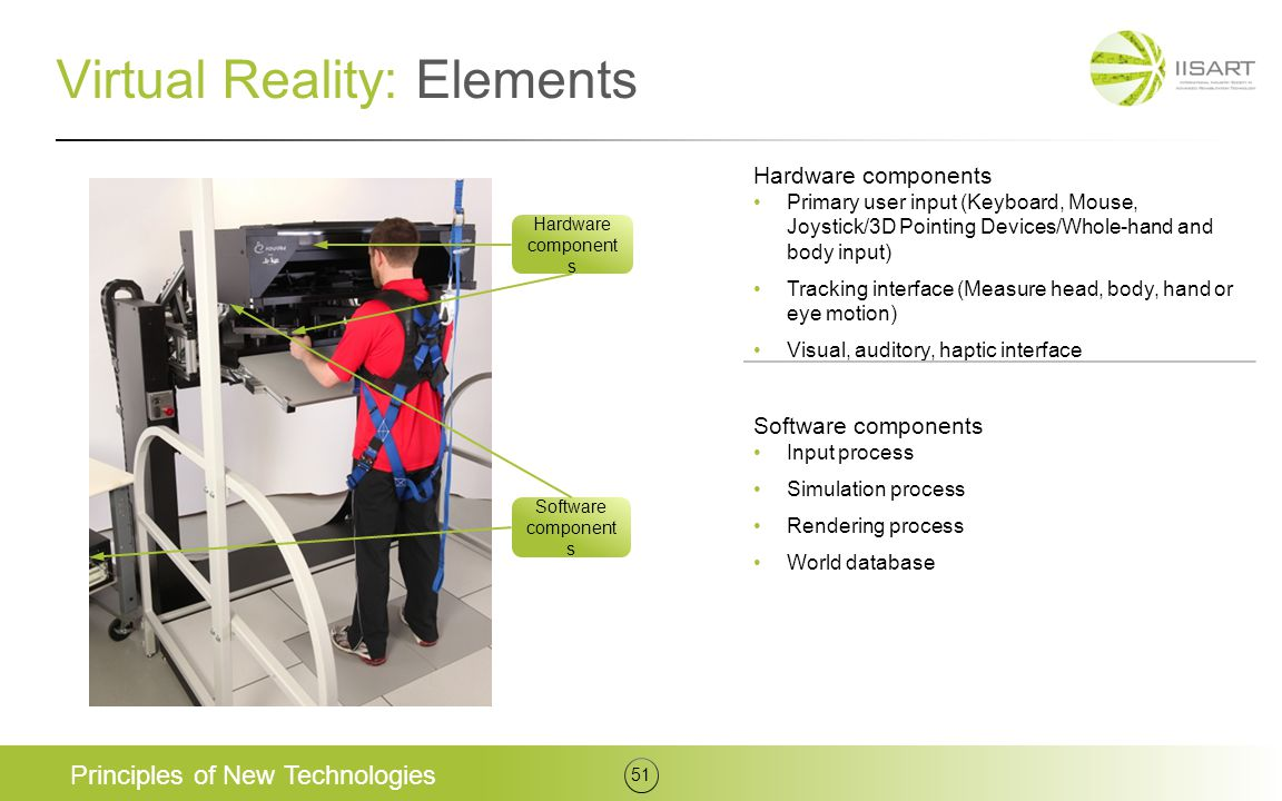 Virtual Reality: Elements Principles of New Technologies 51 Hardware components Primary user input (Keyboard, Mouse, Joystick/3D Pointing Devices/Whol