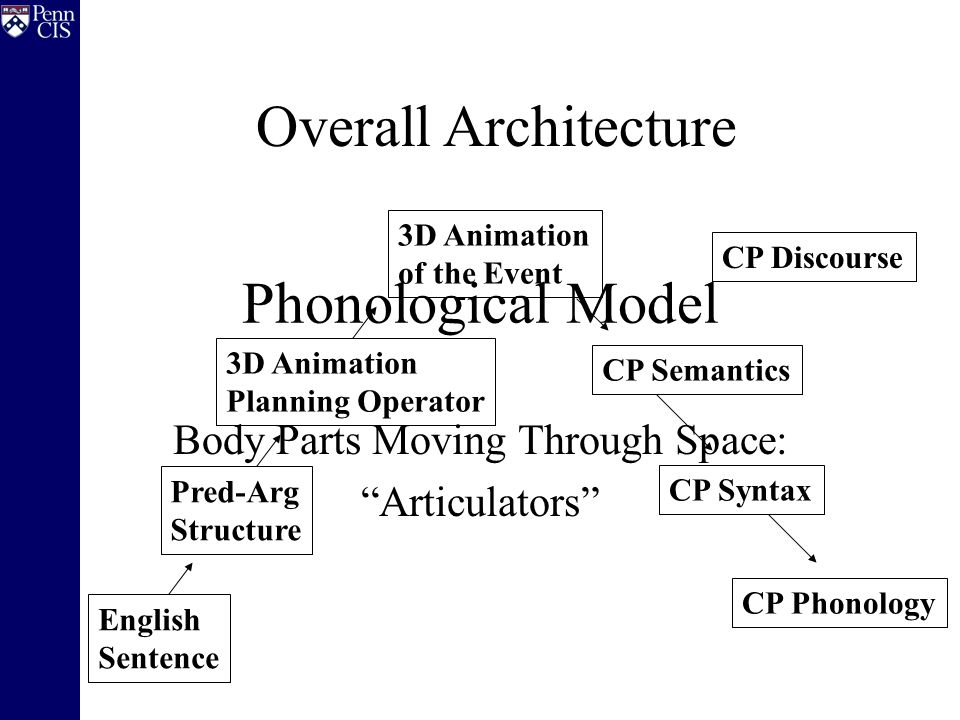 Phonological Model Body Parts Moving Through Space: Articulators English Sentence Pred-Arg Structure 3D Animation Planning Operator 3D Animation of the Event CP Semantics CP Syntax CP Phonology CP Discourse Overall Architecture