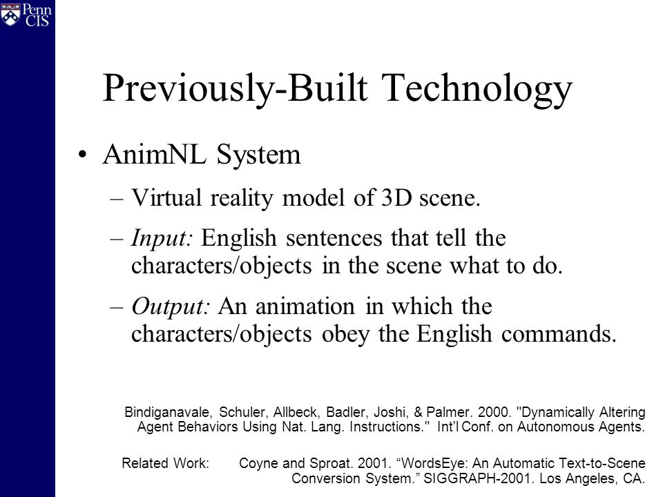 Previously-Built Technology AnimNL System –Virtual reality model of 3D scene.