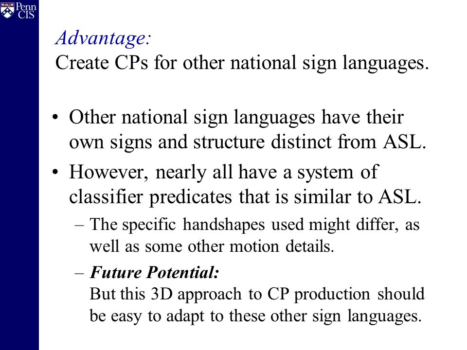 Other national sign languages have their own signs and structure distinct from ASL.