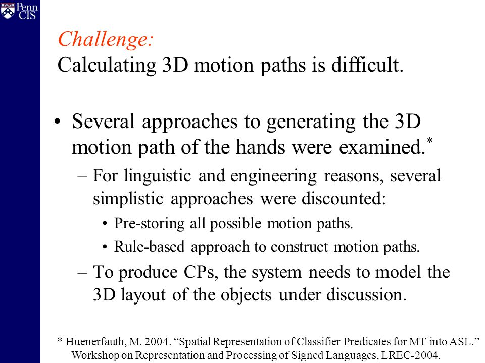Several approaches to generating the 3D motion path of the hands were examined.