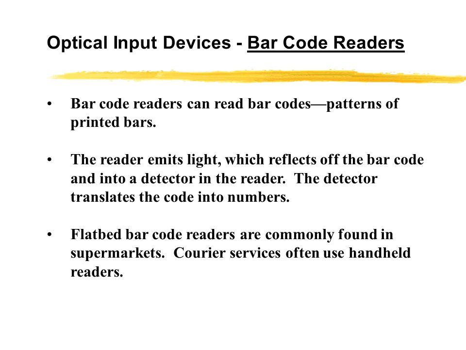 Alternative Input Devices – Optical Input Devices Bar Code Readers Image Scanners and OCR