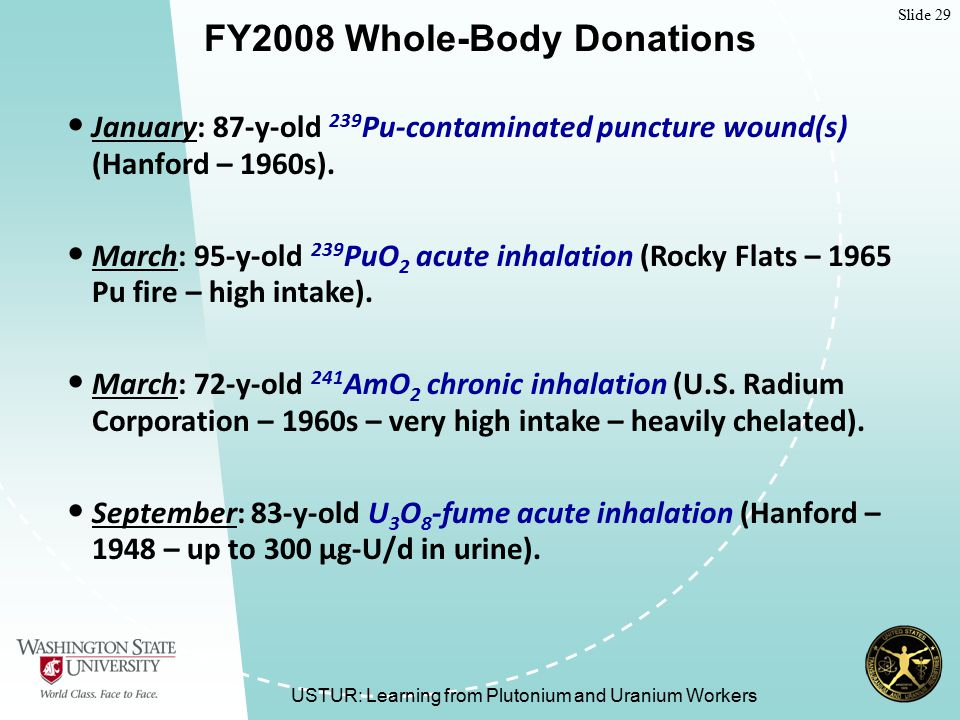 Slide 29 USTUR: Learning from Plutonium and Uranium Workers FY2008 Whole-Body Donations January: 87-y-old 239 Pu-contaminated puncture wound(s) (Hanford – 1960s).