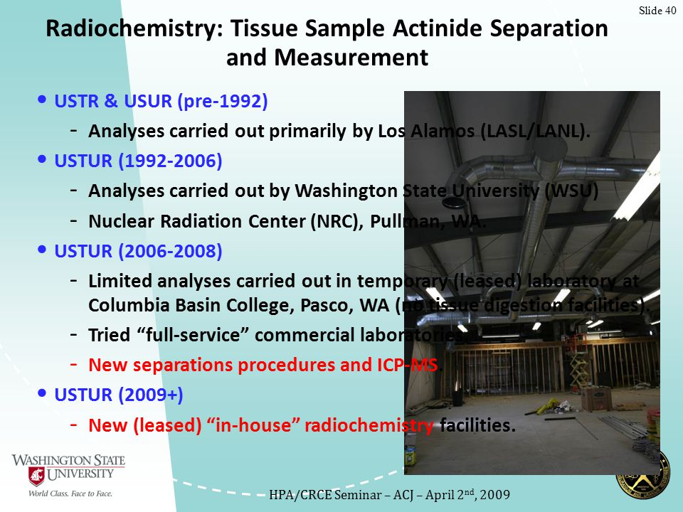 Slide 40 USTR & USUR (pre-1992) - Analyses carried out primarily by Los Alamos (LASL/LANL).