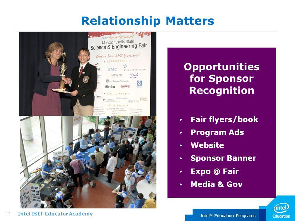 Intel ISEF Educator Academy Intel ® Education Programs 13 Relationship Matters Opportunities for Sponsor Recognition Fair flyers/book Program Ads Website Sponsor Banner Expo @ Fair Media & Gov