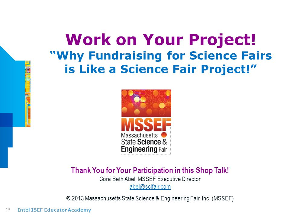 Intel ISEF Educator Academy Work on Your Project.