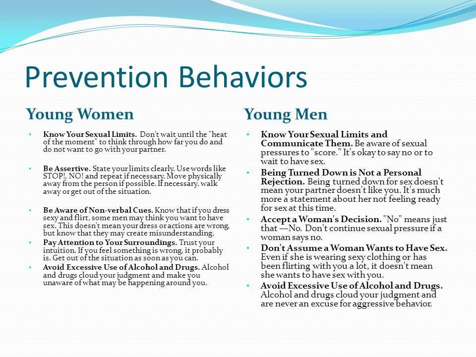 Prevention Behaviors Young Women Young Men Know Your Sexual Limits.