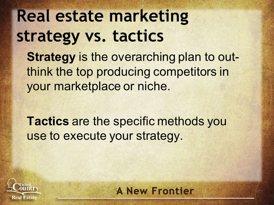 Real estate marketing strategy vs.