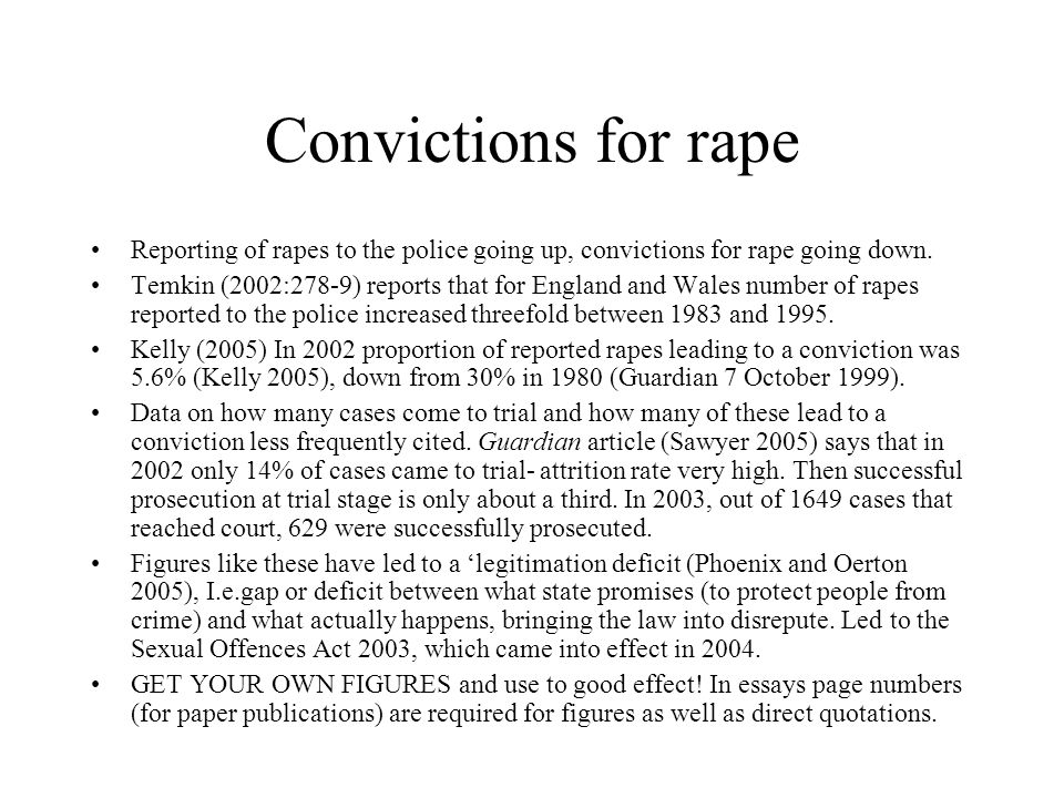 Three aspects of the definition of rape (see especially Temkin 2005 and later sources for changes to law in 2003) Until 1994, penetration of vagina by penis.