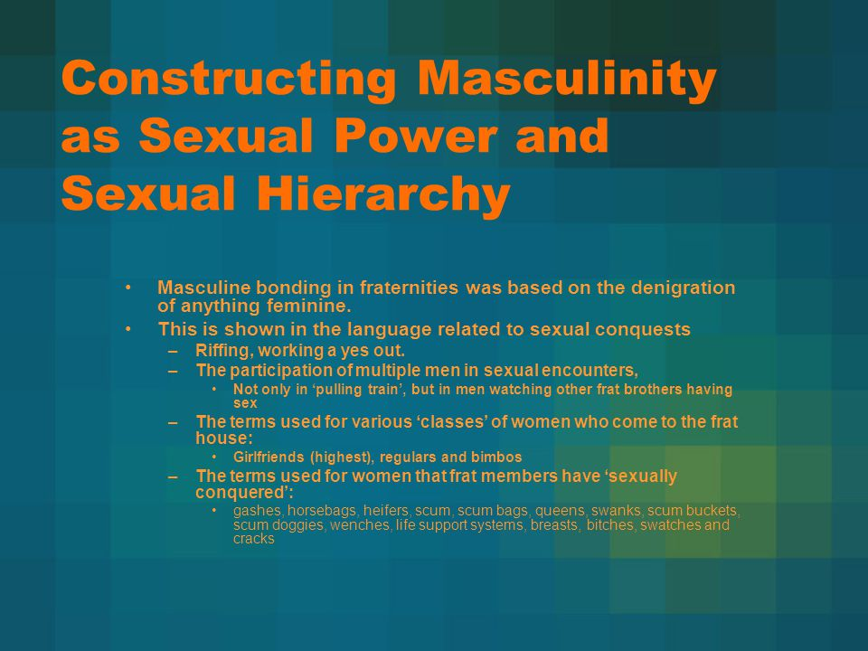 Constructing masculinity as fraternal bonding Male bonding in fraternities was also based on psychologically expelling the feminine aspect of male identities: –through trust in the brotherhood.