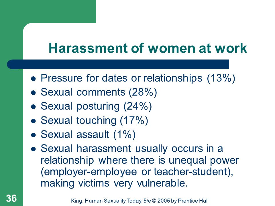 King, Human Sexuality Today, 5/e © 2005 by Prentice Hall 36 Harassment of women at work Pressure for dates or relationships (13%) Sexual comments (28%) Sexual posturing (24%) Sexual touching (17%) Sexual assault (1%) Sexual harassment usually occurs in a relationship where there is unequal power (employer-employee or teacher-student), making victims very vulnerable.