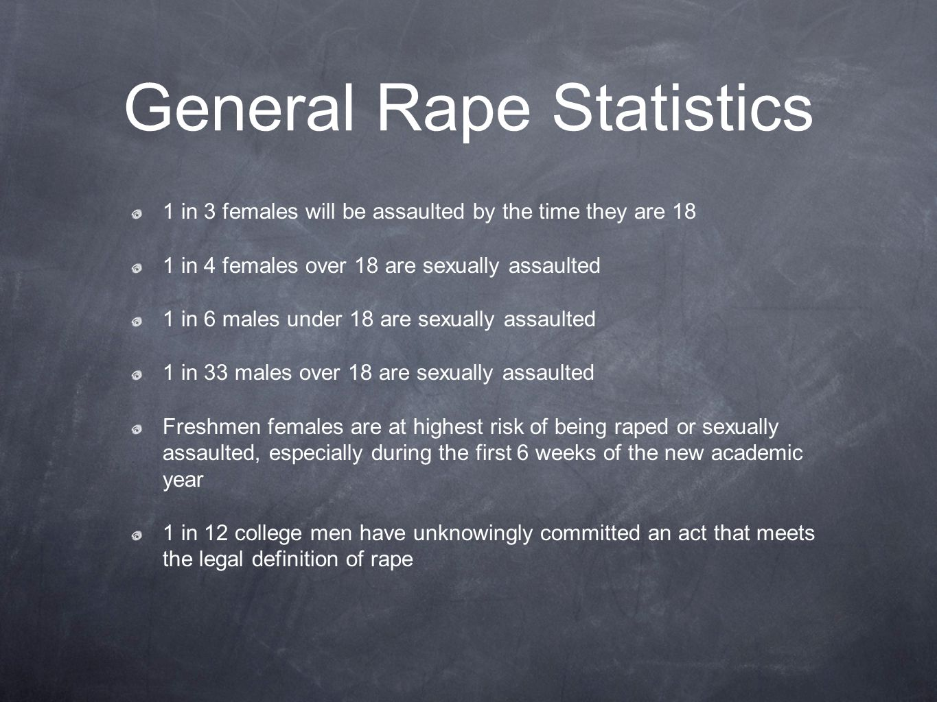 General Rape Statistics 1 in 3 females will be assaulted by the time they are 18 1 in 4 females over 18 are sexually assaulted 1 in 6 males under 18 are sexually assaulted 1 in 33 males over 18 are sexually assaulted Freshmen females are at highest risk of being raped or sexually assaulted, especially during the first 6 weeks of the new academic year 1 in 12 college men have unknowingly committed an act that meets the legal definition of rape