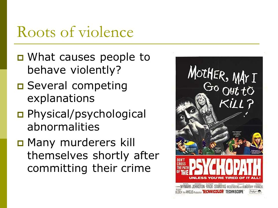 Roots of violence  What causes people to behave violently?  Several competing explanations  Physical/psychological abnormalities  Many murderers k