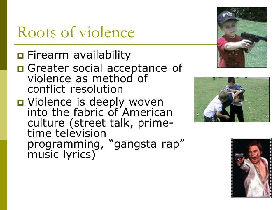 Roots of violence  Firearm availability  Greater social acceptance of violence as method of conflict resolution  Violence is deeply woven into the fabric of American culture (street talk, prime- time television programming, gangsta rap music lyrics)