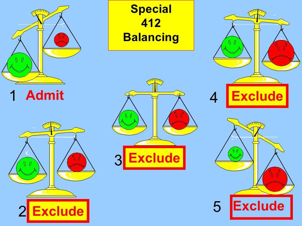 1 2 3 4 5 Admit Exclude Regular 403 Balancing Exclude Special 412 Balancing Exclude