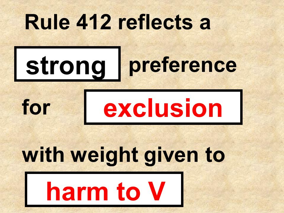 Rule 412 reflects a strong preference for exclusion with weight given to harm to V