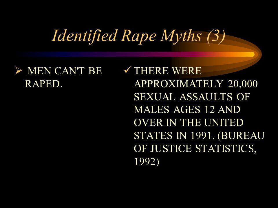 Identified Rape Myths (3)  MEN CAN T BE RAPED.