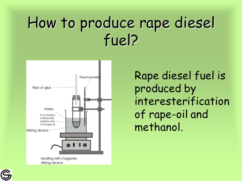 How to produce rape diesel fuel.