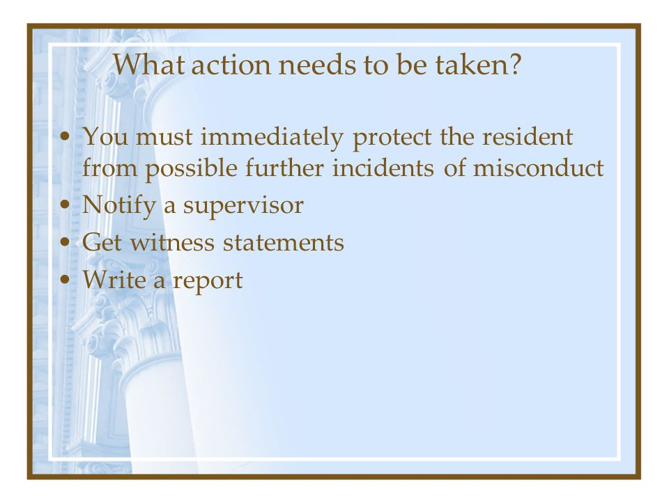 What action needs to be taken.