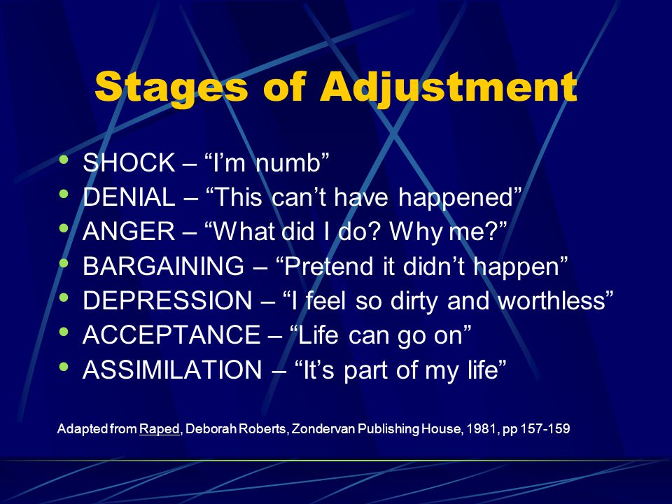 "Stages of Adjustment SHOCK – ""I'm numb"" DENIAL – ""This can't have happened"" ANGER – ""What did I do? Why me?"" BARGAINING – ""Pretend it didn't happen"" D"