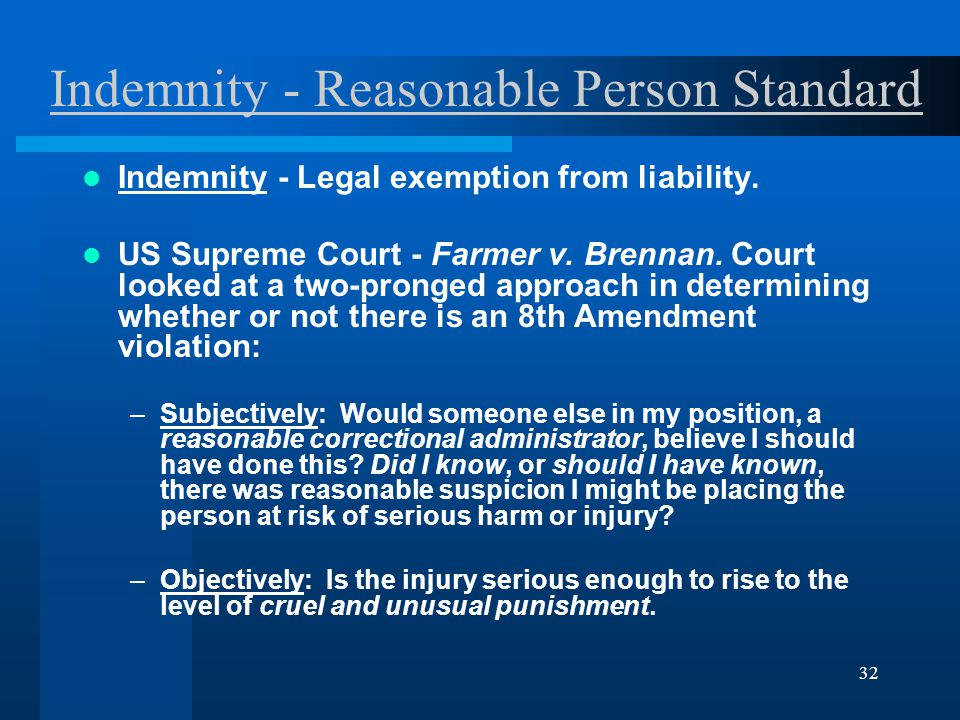 32 Indemnity - Reasonable Person Standard Indemnity - Legal exemption from liability.