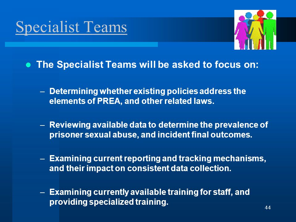 44 Specialist Teams The Specialist Teams will be asked to focus on: –Determining whether existing policies address the elements of PREA, and other related laws.