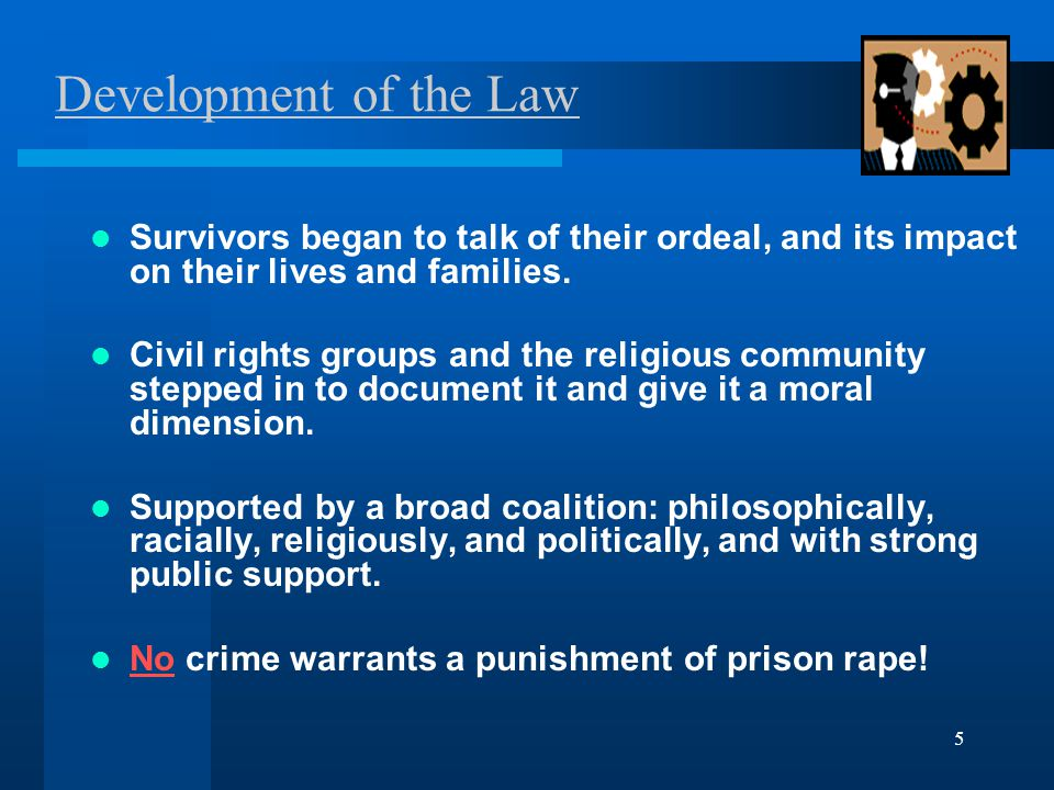 5 Development of the Law Survivors began to talk of their ordeal, and its impact on their lives and families.