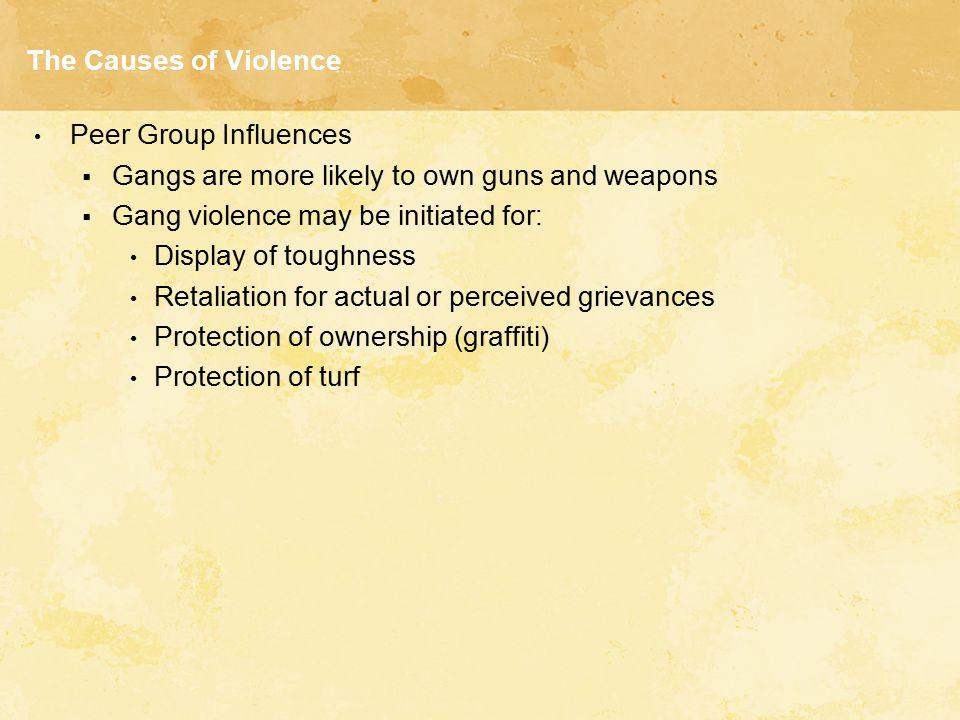 The Causes of Violence Peer Group Influences  Gangs are more likely to own guns and weapons  Gang violence may be initiated for: Display of toughnes