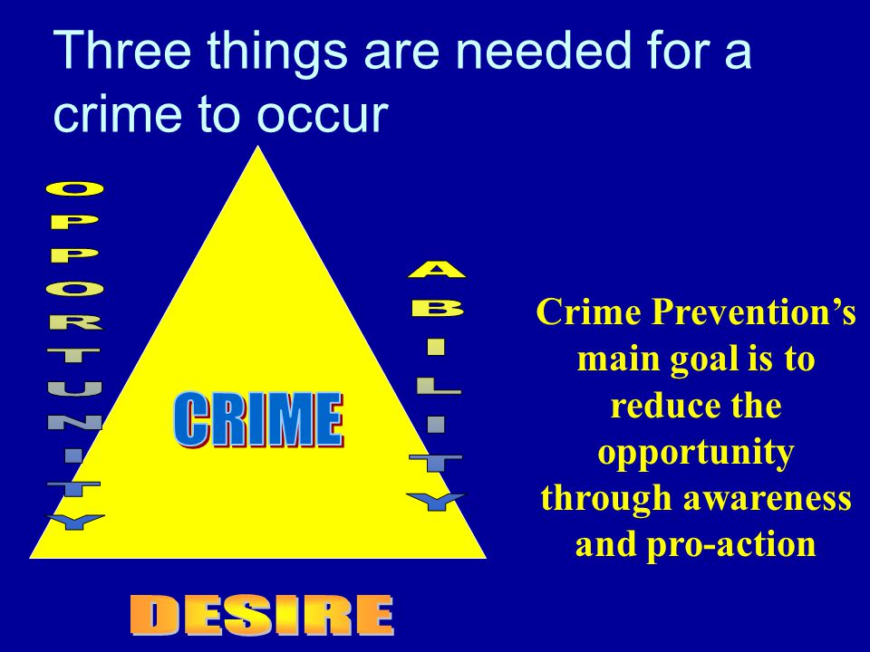 Three things are needed for a crime to occur Crime Prevention's main goal is to reduce the opportunity through awareness and pro-action