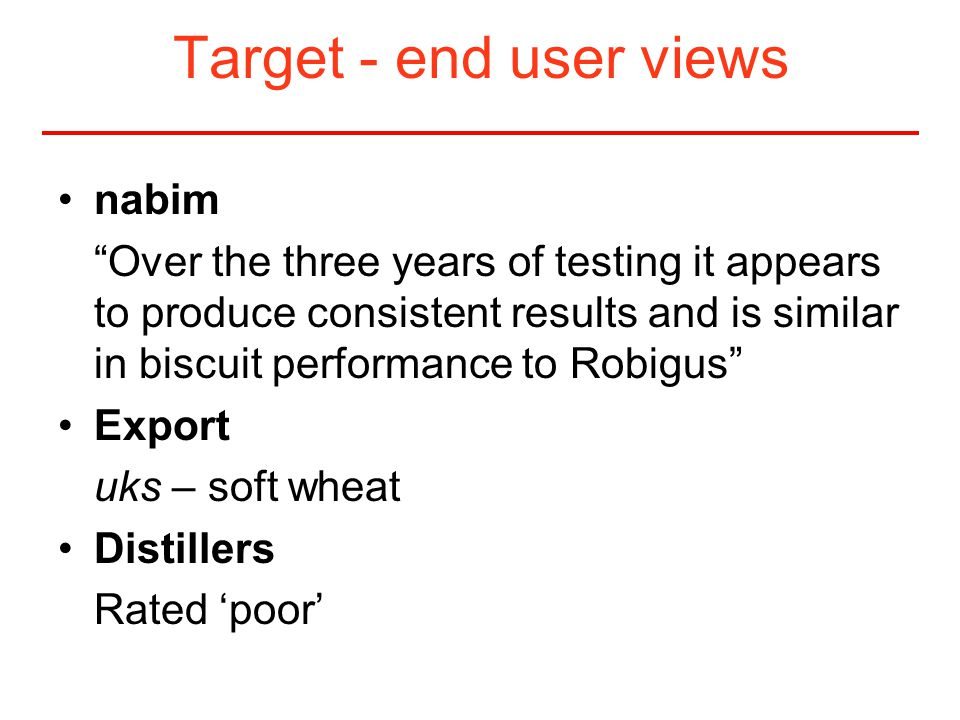 Target - end user views nabim Over the three years of testing it appears to produce consistent results and is similar in biscuit performance to Robigus Export uks – soft wheat Distillers Rated 'poor'