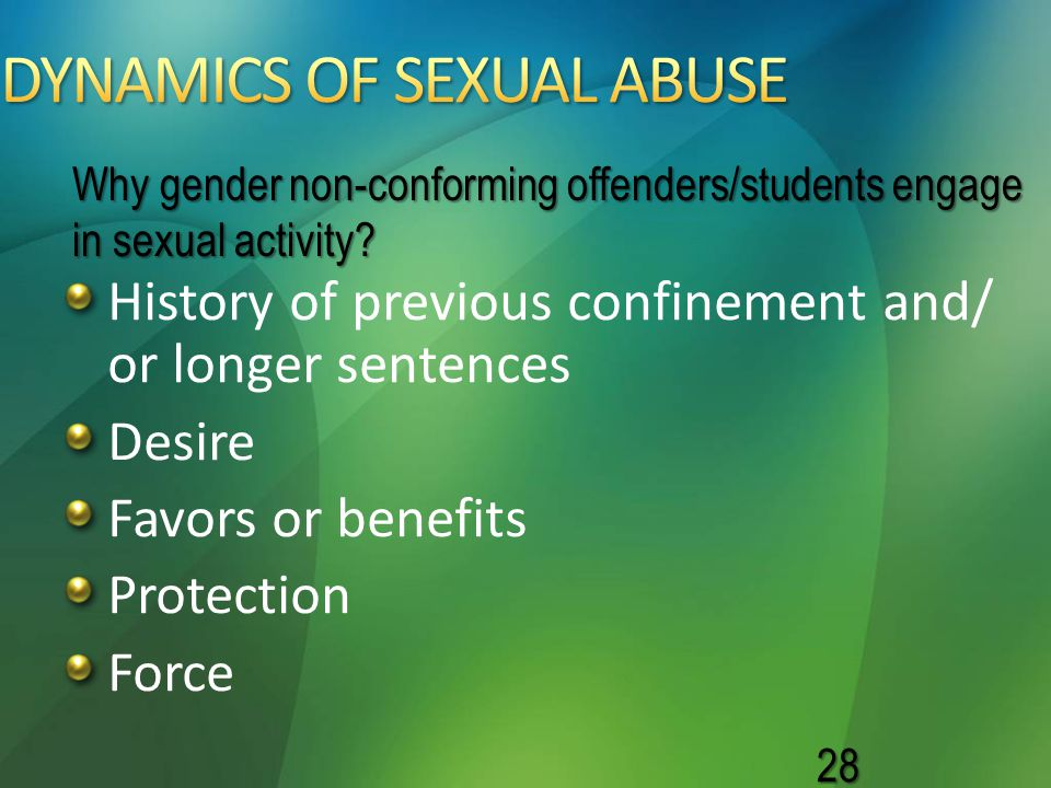 History of previous confinement and/ or longer sentences Desire Favors or benefits Protection Force 28 Why gender non-conforming offenders/students en