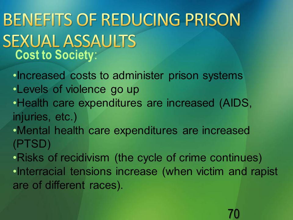 70 Increased costs to administer prison systems Levels of violence go up Health care expenditures are increased (AIDS, injuries, etc.) Mental health c