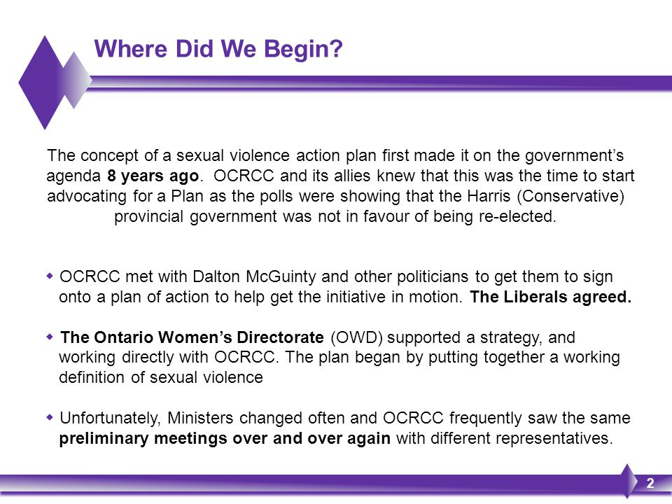 Where Did We Begin? 2 The concept of a sexual violence action plan first made it on the government's agenda 8 years ago. OCRCC and its allies knew tha