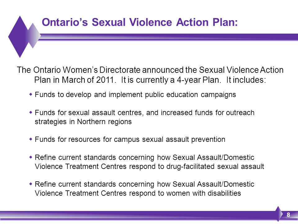 Ontario's Sexual Violence Action Plan: The Ontario Women's Directorate announced the Sexual Violence Action Plan in March of 2011. It is currently a 4
