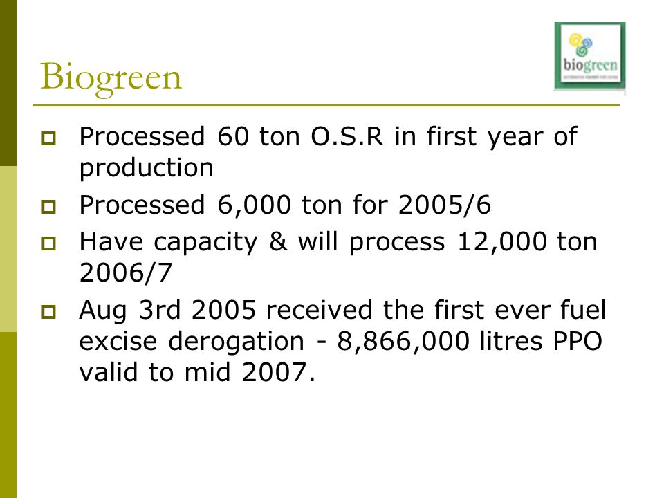 Biogreen  Processed 60 ton O.S.R in first year of production  Processed 6,000 ton for 2005/6  Have capacity & will process 12,000 ton 2006/7  Aug 3rd 2005 received the first ever fuel excise derogation - 8,866,000 litres PPO valid to mid 2007.