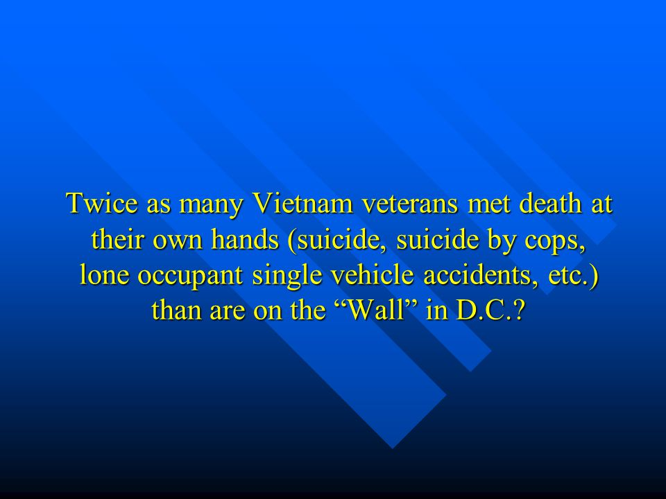 Twice as many Vietnam veterans met death at their own hands (suicide, suicide by cops, lone occupant single vehicle accidents, etc.) than are on the ""
