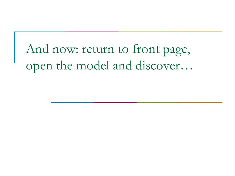 And now: return to front page, open the model and discover…