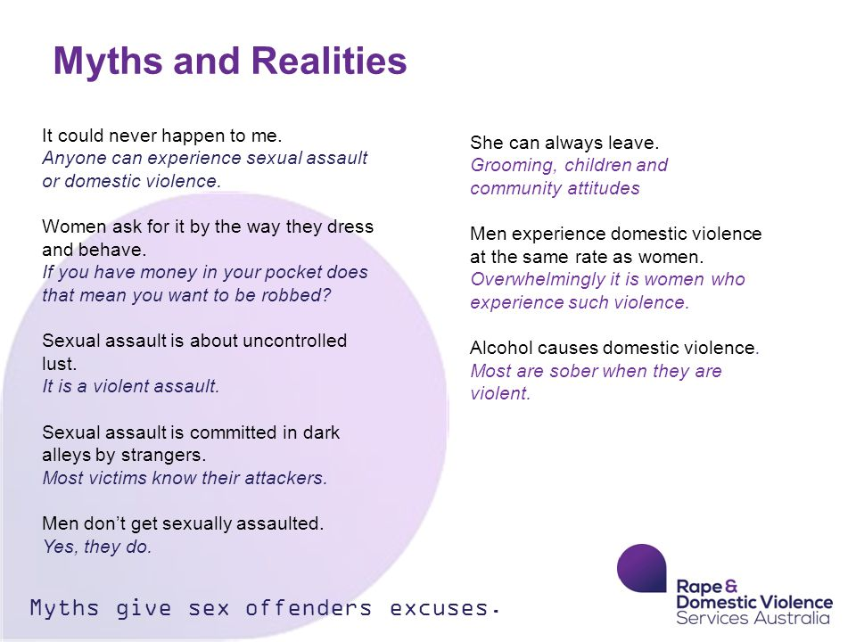 Myths and Realities Myths give sex offenders excuses.