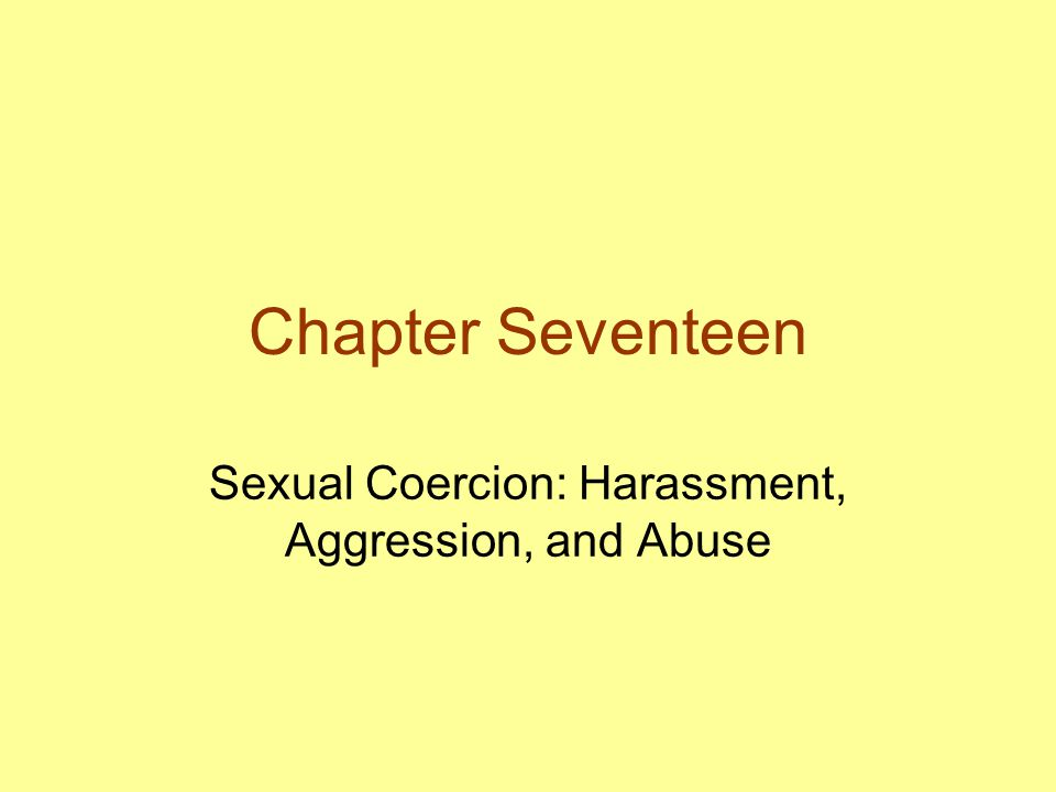 Sexual Harassment The abuse of power for sexual ends –Unwelcome sexual advances, requests for sexual favors –Other verbal or physical sexual conduct as condition for schooling or employment Creation of a hostile environment –Interferes with performance at school or at work Illegal
