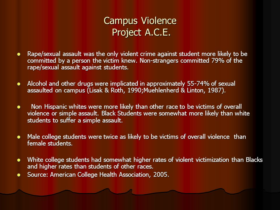 Campus Violence Project A.C.E. Rape/sexual assault was the only violent crime against student more likely to be committed by a person the victim knew.