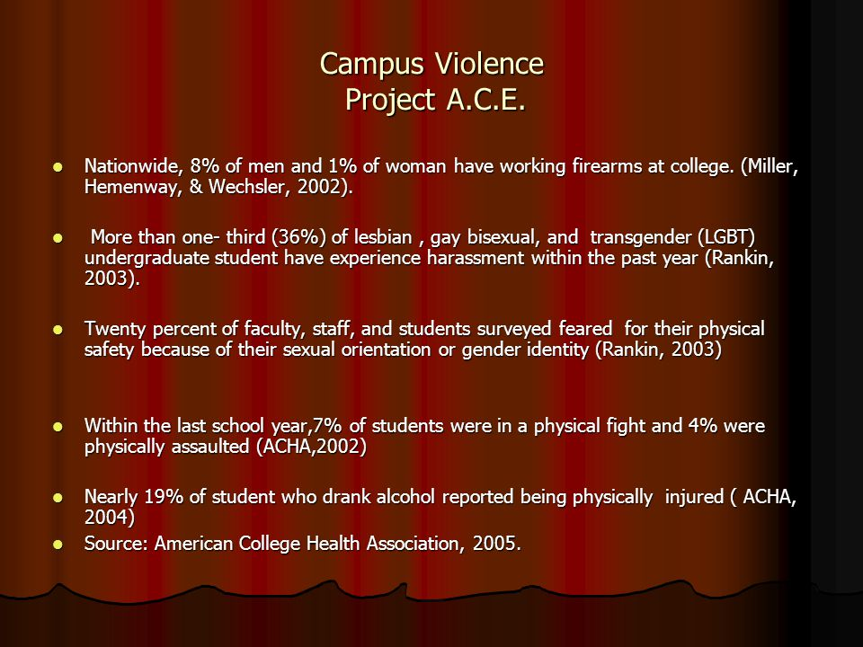Campus Violence Project A.C.E. Nationwide, 8% of men and 1% of woman have working firearms at college. (Miller, Hemenway, & Wechsler, 2002). Nationwid