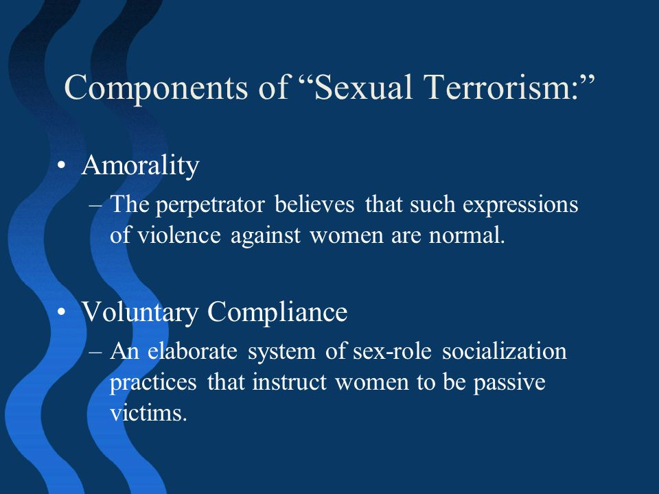Components of Sexual Terrorism: Amorality –The perpetrator believes that such expressions of violence against women are normal.