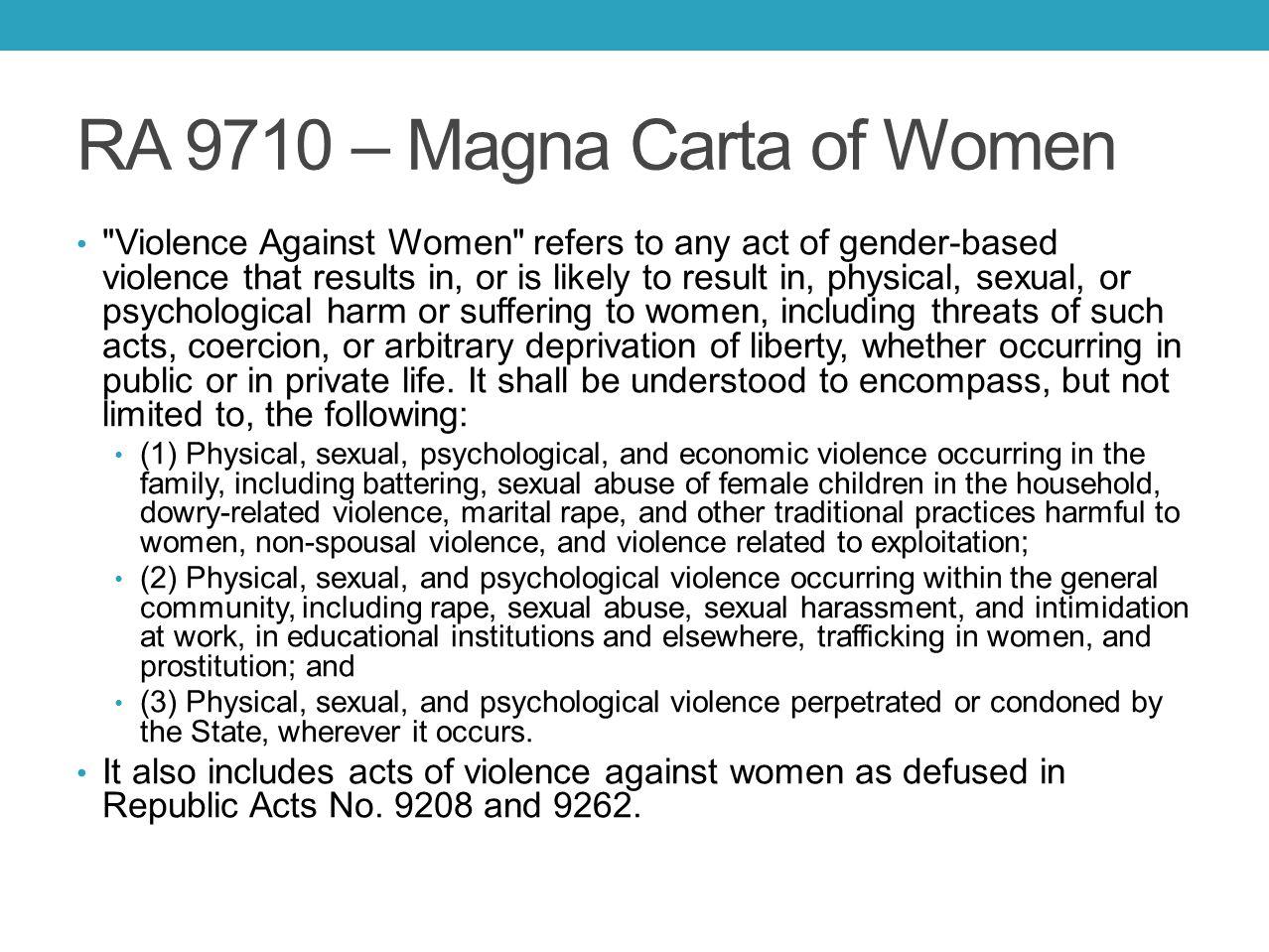 RA 9710 – Magna Carta of Women