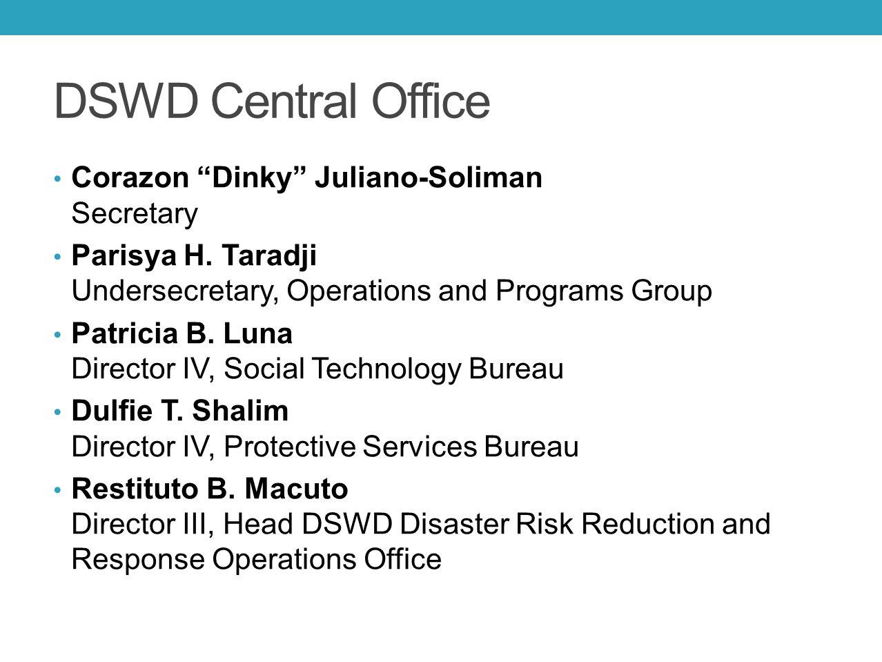 "DSWD Central Office Corazon ""Dinky"" Juliano-Soliman Secretary Parisya H. Taradji Undersecretary, Operations and Programs Group Patricia B. Luna Direct"