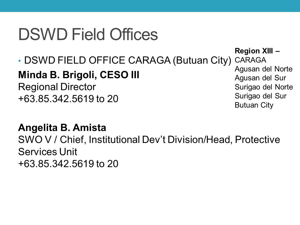 DSWD Field Offices DSWD FIELD OFFICE CARAGA (Butuan City) Minda B. Brigoli, CESO III Regional Director +63.85.342.5619 to 20 Angelita B. Amista SWO V