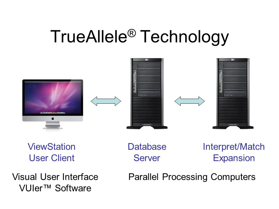 TrueAllele ® Technology ViewStation User Client Database Server Interpret/Match Expansion Visual User Interface VUIer™ Software Parallel Processing Computers