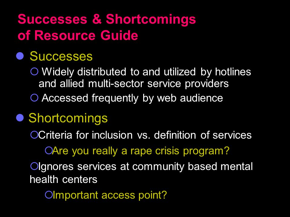 Successes & Shortcomings of Resource Guide Successes  Widely distributed to and utilized by hotlines and allied multi-sector service providers  Accessed frequently by web audience Shortcomings  Criteria for inclusion vs.