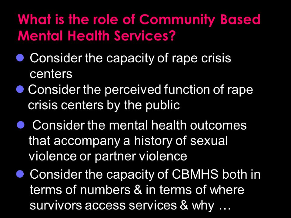 What is the role of Community Based Mental Health Services.